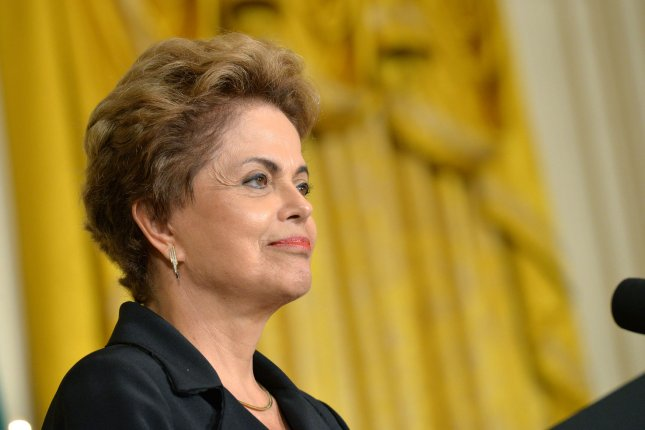 President Dilma Rousseff of Brazil speaks during a joint press conference with President Barack Obama in the East Room at the White House in Washington, D.C. on June 30. Back home, hundreds of thousands of protesters are rallying against Rousseff as her approval ratings remain at single-digit lows. File Photo by Kevin Dietsch/UPI