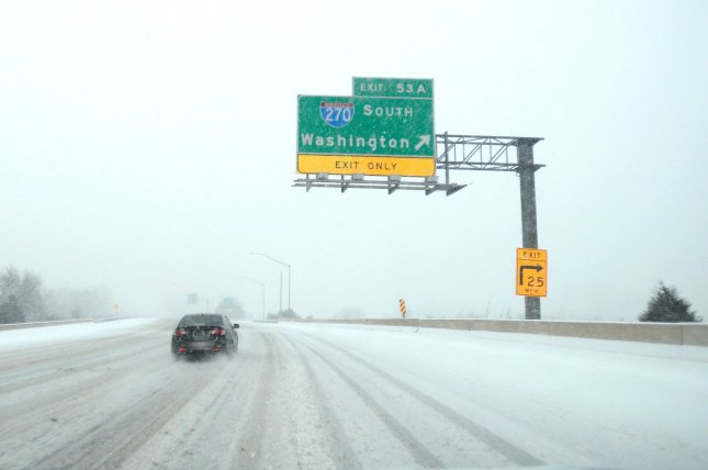 Traffic moves slowly across I-70 north of Washington, D.C., as winter storm warnings are posted in 19 states with predictions of 12 to 24 inches of snow, high winds, and whiteout conditions for the mid-Atlantic region in Frederick, Maryland, January 22, 2016. Photo by David Tulis/UPI
