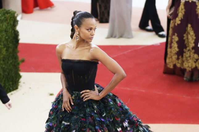 Zoe Saldana arrives on the red carpet at the Costume Institute Benefit at The Metropolitan Museum of Art in New York City on May 2, 2016. Photo by John Angelillo/UPI