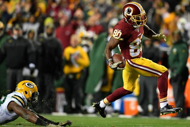 Washington Redskins wide receiver Jamison Crowder (80) brings in a 53-yard reception against the Green Bay Packers in the fourth quarter in Landover, Maryland on November 20, 2016. Photo by Kevin Dietsch/UPI