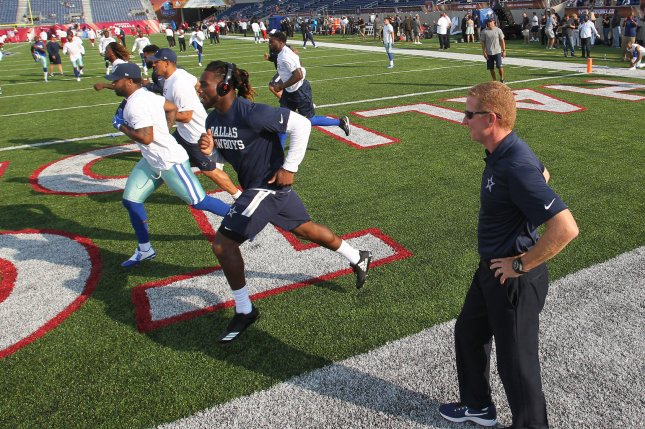 Dallas Cowboys coach Jason Garrett watches his players warm up on August 3, 2017. Rod Smith and Alfred Morris are currently battling for the RB3 spot. Photo by Aaron Josefczyk/UPI