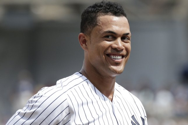 New York Yankees outfielder Giancarlo Stanton went 2-for-6 in a 2-1 win against the Miami Marlins on Tuesday in Miami. Photo by John Angelillo/UPI
