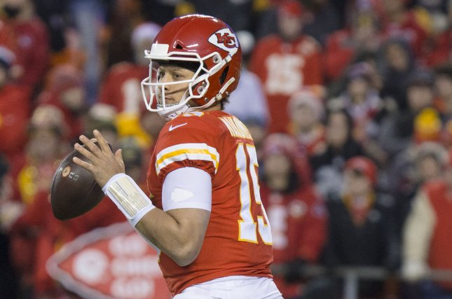 Kansas City Chiefs quarterback Patrick Mahomes (15) looks to pass. Mahomes and the Chiefs play the New England Patriots on Sunday at Arrowhead Stadium in Kansas City, Missouri. Photo by Kyle Rivas/UPI
