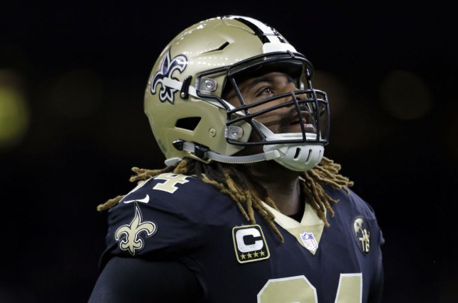 New Orleans Saints defensive end Cameron Jordan had four sacks in a win against the Atlanta Falcons on Thursday in Atlanta. File Photo by AJ Sisco/UPI