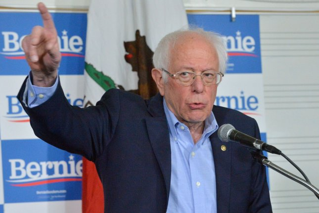 Democratic presidential candidate Sen. Bernie Sanders, I-Vt., addresses the media prior to a Get Out the Early Vote rally at Valley High School in Santa Ana, Calif., on Friday. Photo by Jim Ruymen/UPI