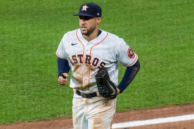 Veteran outfielder George Springer, who agreed to join the Toronto Blue Jays on Tuesday, adds depth to an outfield group that also includes Lourdes Gurriel Jr., Randal Grichuk and Teoscar Hernandez. File Photo by Trask Smith/UPI