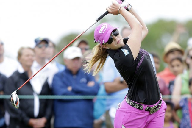 Paula Creamer tees off on the first hole in the Final Round of the 2013 Women's U.S. Open at Sebonack Golf Club in Southampton, New York on June 30, 2013. UPI/John Angelillo