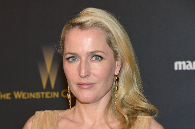 Gillian Anderson at the Weinstein Co. and Netflix Golden Globes after-party on January 10. The actress is interested in playing James Bond. File Photo by Christine Chew/UPI
