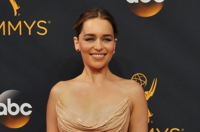 Actress Emilia Clarke arrives for the 68th annual Primetime Emmy Awards in Los Angeles on September 18, 2016. File Photo by Christine Chew/UPI