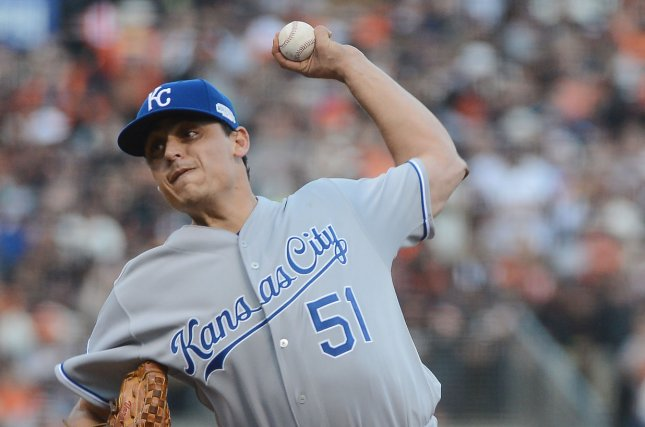 Kansas City Royals starting pitcher Jason Vargas throws against the San Francisco Giants during the first inning. File photo by Terry Schmitt/UPI