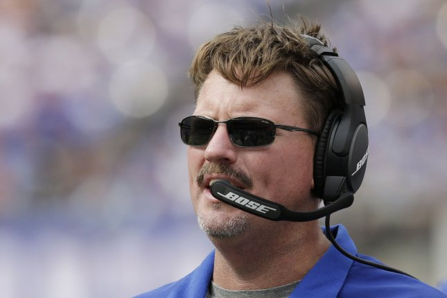 New York Giants head coach Ben McAdoo stands on the sidelines in the 4th quarter against the New Orleans Saints in week 2 of the NFL at MetLife Stadium in East Rutherford, New Jersey on September 18, 2016. File photo by John Angelillo/UPI
