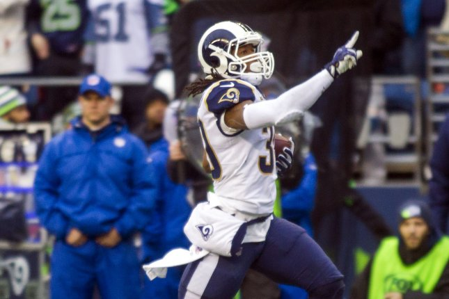 Los Angeles Rams running back Todd Gurley (30) runs for a 57-yard touchdown against the Seattle Seahawks in the during the second quarter of their NFC West showdown at CenturyLink Field in Seattle, Washington on December 17, 2017. File photo by Jim Bryant/UPI