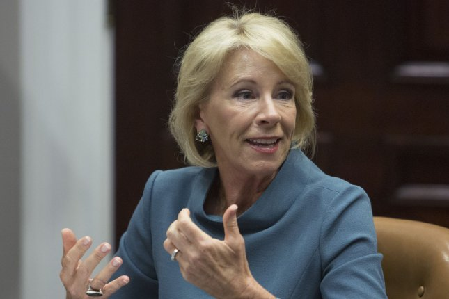 U.S. Secretary of Education Betsy DeVos said Tuesday she recognizes school safety is an urgent issue that needs to be addressed immediately. Photo by Chris Kleponis/UPI