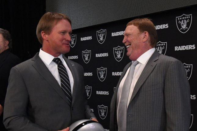 Oakland Raiders new head coach Jon Gruden chats with owner Mark Davis (L) on January 9, 2018 at the Raiders Headquarters in Alameda, California. Photo by Terry Schmitt/UPI