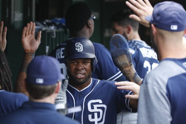 San Diego Padres' Manuel Margot, celebrates with teammates after scoring against the Chicago Cubs in the first inning on Sunday at Wrigley Field in Chicago. Photo by Kamil Krzaczynski/UPI