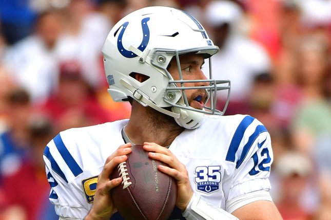 Indianapolis Colts quarterback Andrew Luck (12) passes against the Washington Redskins in the second quarter on September 16, 2018 at FedEx Field in Landover, Maryland. Photo by Kevin Dietsch/UPI