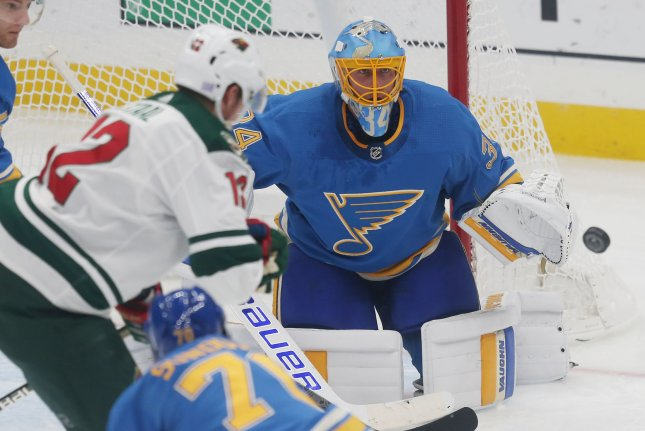 Jake Allen and the St. Louis Blues take on the Vancouver Canucks on Sunday. Photo by Bill Greenblatt/UPI