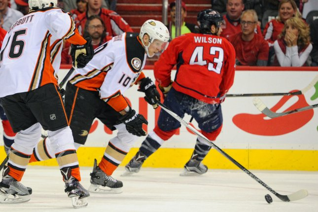 Anaheim Ducks winger Corey Perry (10) had 10 points in 31 games this season after missing the first four months due to knee surgery. File Photo by Mark Goldman/UPI