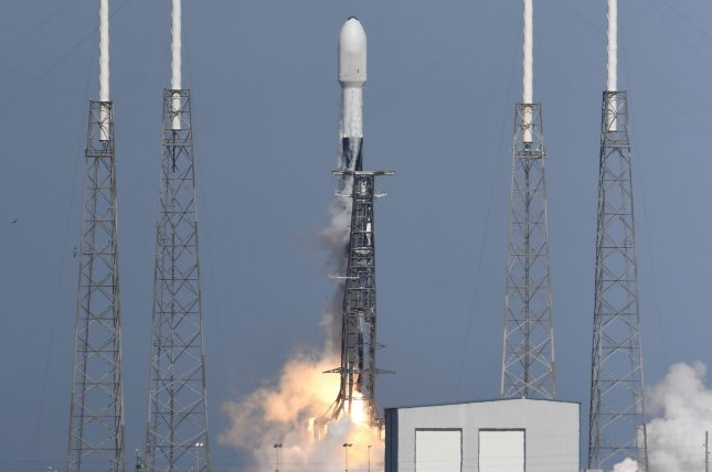 SpaceX plans to launch 143 satellites on a Falcon 9 rocket, similar to the vehicle shown here in December, from Cape Canaveral Space Force Station in Florida on Sunday morning. File Photo by Joe Marino/UPI