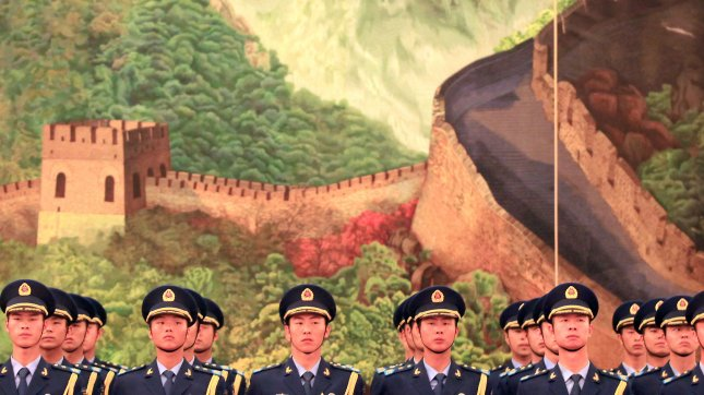 Chinese soldiers practice honor guard duties in Beijing on May 9, 2012. UPI/Stephen Shaver