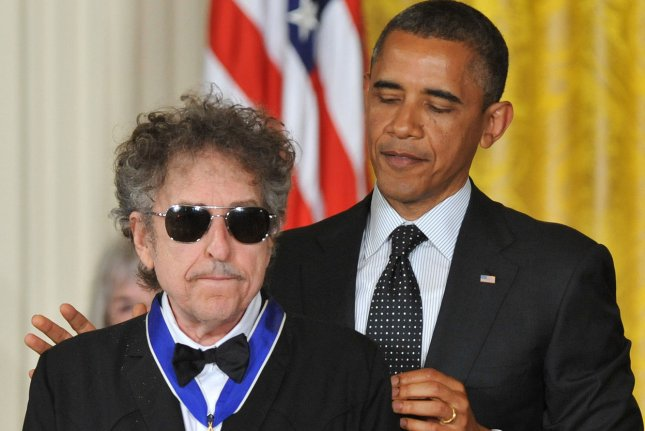 Bob Dylan was also awarded the Presidential Medal of Freedom by President Barack Obama. UPI/Kevin Dietsch