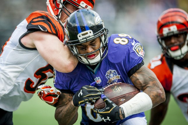 Baltimore Raven wide receiver Steve Smith Sr. breaks through the defense during the fourth quarter against the Cincinnati Bengals at M&M Bank Stadium on September 27, 2015 in Baltimore, Maryland. The Bengals won the game 28-24. Photo by Pete Marovich/UPI