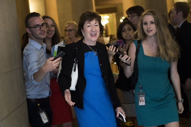 Sen. Susan Collins, R-Maine, on Thursday said she's concerned the Senate's new healthcare bill would hurt people with pre-existing conditions and others who got coverage under Obamacare. Photo by Kevin Dietsch/UPI