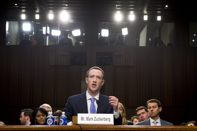 Facebook CEO Mark Zuckerberg testifies during a Joint Senate Judiciary and Commerce Committee hearing on Facebook, social media privacy, and the use and abuse of data, on Capitol Hill in Washington, D.C. on Tuesday. Photo by Kevin Dietsch/UPI