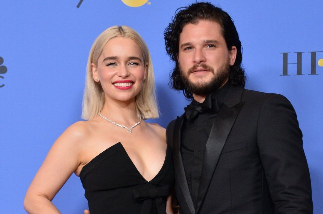 Emilia Clarke (L) and Kit Harington play Daenerys Targaryen and Jon Snow on Game of Thrones. File Photo by Jim Ruymen/UPI