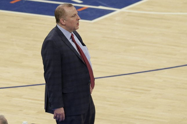 Minnesota Timberwolves head coach Tom Thibodeau stands near the bench in the second half against the New York Knicks on December 2, 2016 at Madison Square Garden in New York City. File photo by John Angelillo/UPI