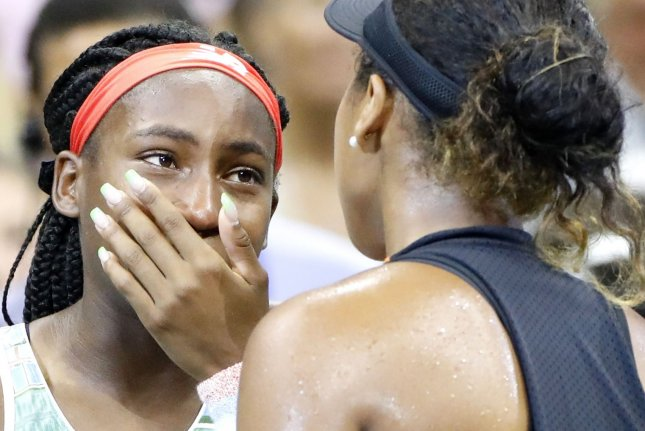 Cori Coco Gauff (L) and Naomi Osaka share a section in the 2020 U.S. Open women's singles bracket and could have a rematch of their 2019 match as early as the third round this year. File Photo by John Angelillo/UPI
