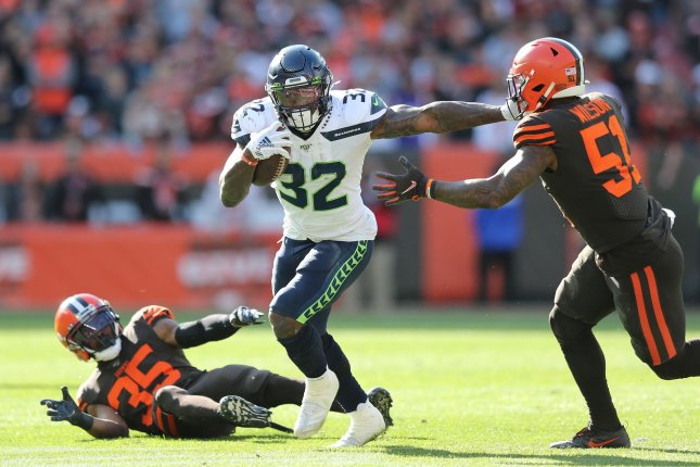Seattle Seahawks running back Chris Carson (32) was ruled out for Sunday's game against the Buffalo Bills due to a foot injury. File Photo by Aaron Josefczyk/UPI