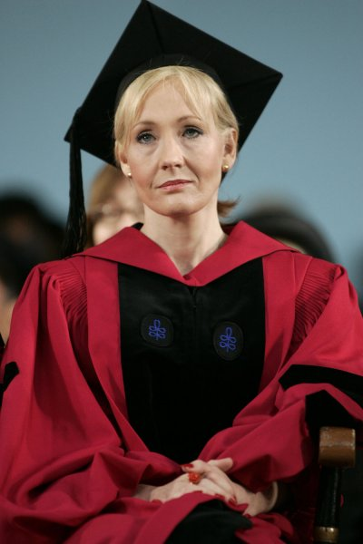 Author J.K. Rowling sits on stage during the 2008 Harvard University Commencements Exercises on the campus of Harvard University in Cambridge, Massachusetts on June 5, 2008. (UPI Photo/Matthew Healey)