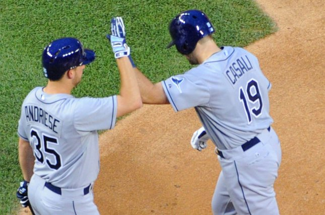 Tampa Bay Rays catcher Curt Casali (19) is congratulated by starting pitcher Matt Andriese (35). Photo by Mark Goldman/UPI