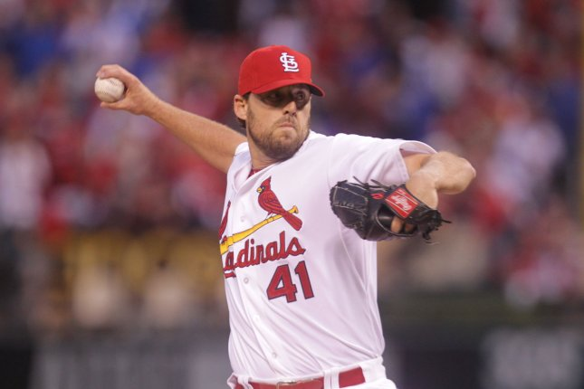 St. Louis Cardinals starting pitcher John Lackey delivers a pitch to the Chicago Cubs in the first inning of Game 1 of the National League Division Series at Busch Stadium in St. Louis on October 9, 2015. St. Louis won the game 4-0. Photo by Bill Greenblatt/UPI