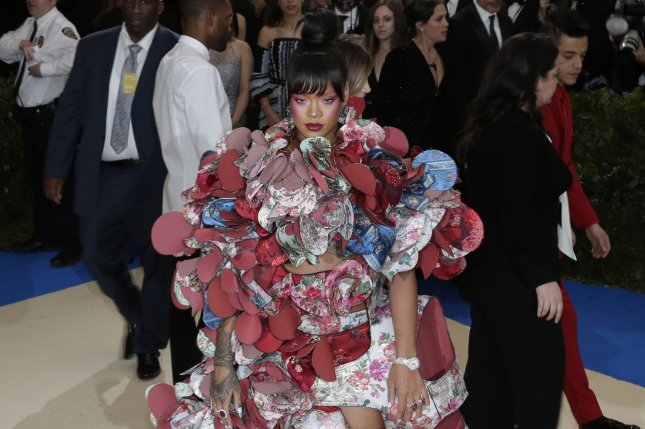 Rihanna attends the Costume Institute Benefit at the Metropolitan Museum of Art on Monday. Photo by John Angelillo/UPI