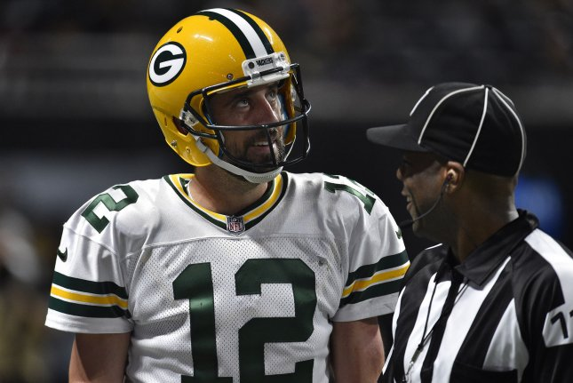 Green Bay Packers quarterback Aaron Rodgers (12) talks to referee John Jenkins during the second half of football game against the Atlanta Falcons at the new retractable roof Mercedes Benz Stadium in Atlanta, September 17, 2017. File photo by David Tulis/UPI