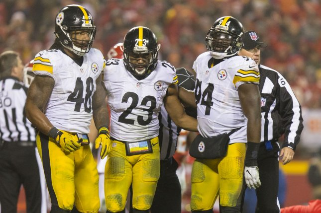 Pittsburgh Steelers outside linebacker Bud Dupree (48), free safety Mike Mitchell (23) and inside linebacker Lawrence Timmons (94) react to an injury on the field in the fourth quarter of an NFL Playoff Game on January 15, 2017 at Arrowhead Stadium in Kansas City. File photo by Kyle Rivas/UPI