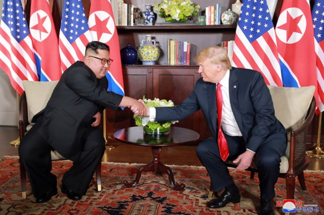 North Korea's Kim Jong Un (L) and U.S. President Donald Trump (R) could meet in Europe next month, according to Japanese press reports. File Photo by KCNA/UPI