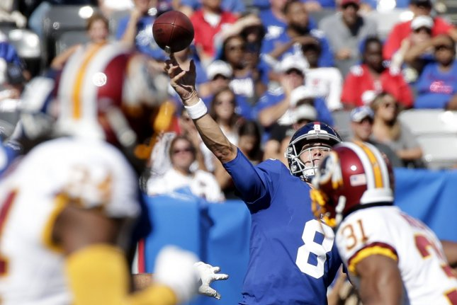 New York Giants quarterback Daniel Jones (8) is now 2-0 as a starter after beating the Washington Redskins in his first home start Sunday at MetLife Stadium in East Rutherford, N.J. Photo by John Angelillo/UPI