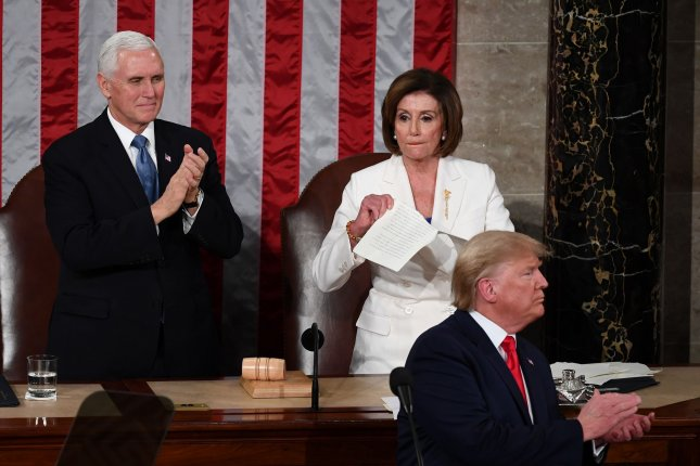 House Speaker Nancy Pelosi tears up a copy of President Donald Trump's State of the Union address on Tuesday night. She later called it a manifesto of mistruths. Photo by Kevin Dietsch/UPI