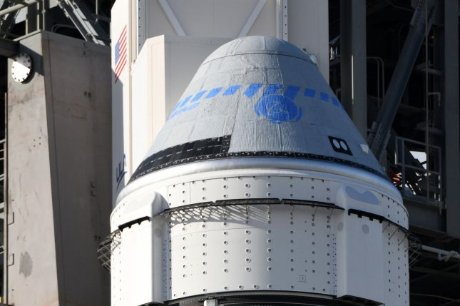 The Boeing Starliner spacecraft sits on top of a United Launch Alliance Atlas V rocket on Launch Complex 41 at Cape Canaveral Air Force Station, Fla. on Dec. 19. File Photo by Joe Marino-Bill Cantrell/UPI