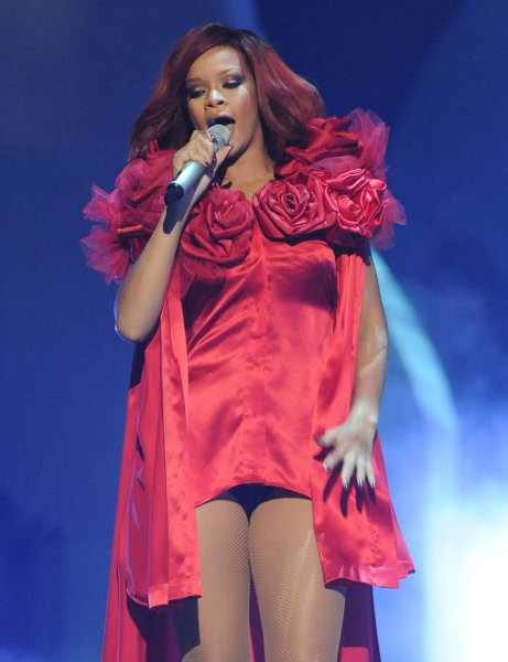 Barbadian singer Rihanna performs at the 'Brit Awards at the O2 Arena in London on February 15, 2011. UPI/Rune Hellestad