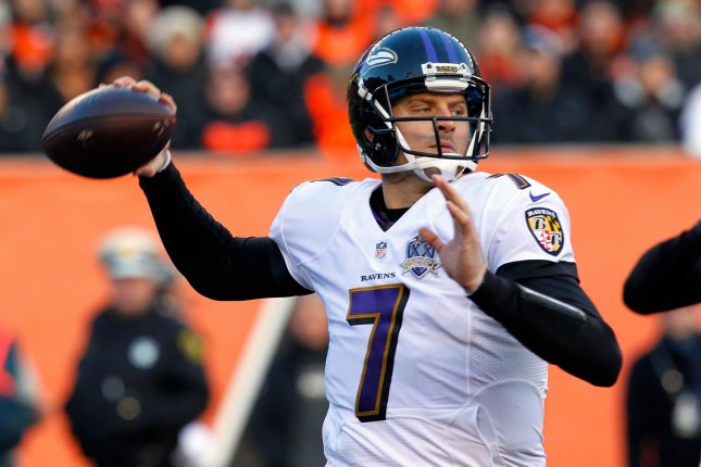 bbe411847e08 Baltimore Ravens quarterback Ryan Mallett (7) throws under pressure from  the Cincinnati Bengals  defense during the second half of play at Paul  Brown ...