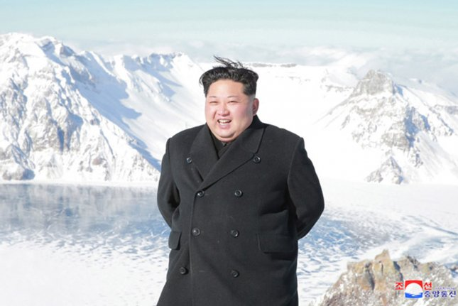 This image released on December 9, 2017, by the North Korean Official News Service (KCNA), shows North Korean leader Kim Jong Un during a sightseeing trip to Mount Paektu, an active volcano on the border between North Korea and China. File Photo by KCNA/UPI