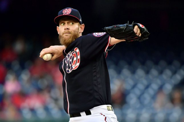 Washington Nationals starting pitcher Stephen Strasburg (37) allowed five hits and one run while tossing nine strikeouts in seven innings to pick up his eighth win of the season against the Philadelphia Phillies on Wednesday in Philadelphia. Photo by Kevin Dietsch/UPI