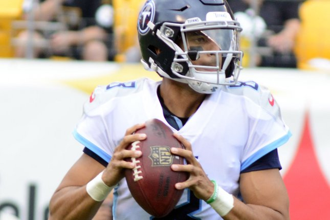 Tennessee Titans quarterback Marcus Mariota (8) steps back pass in the first quarter against the Pittsburgh Steelers on August 25 at Heinz Field in Pittsburgh. Photo by Archie Carpenter/UPI