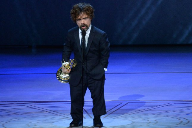 Peter Dinklage accepts the Outstanding Supporting Actor in a Drama award for Game of Thrones during the 70th annual Primetime Emmy Awards in Los Angeles on September 17. The 2019 event is to take place on Sept. 22. File Photo by Jim Ruymen/UPI