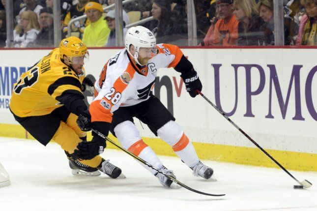 Claude Giroux and the Philadelphia Flyers face the Columbus Blue Jackets on Thursday. Photo by Archie Carpenter/UPI