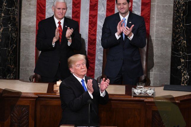 President Donald Trump delivers the State of the Union address to a joint session of Congress at the U.S. Capitol on January 30, 2018. File Photo by Pat Benic/UPI